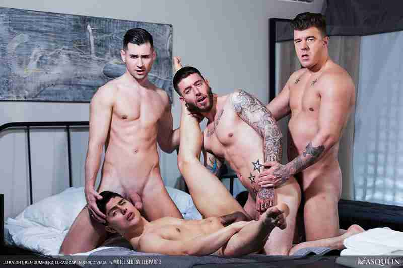 "JJ Knight, Ken Summers, Lukas Daken, Rico Vega ""Motel Slutsville, Part 3"" [Bareback]"